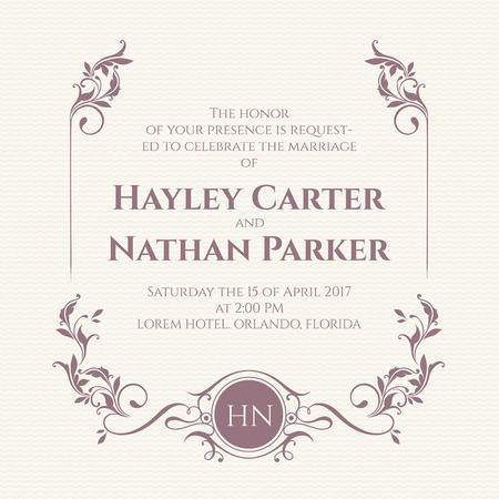 Graphic design page. Wedding invitation. Decorative floral frame and monogram. Vectores