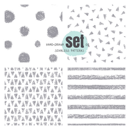 Chalk seamless stripes, triangles, rounds on white background. Gray wide stripes with rough, artistic edges. Vector texture.