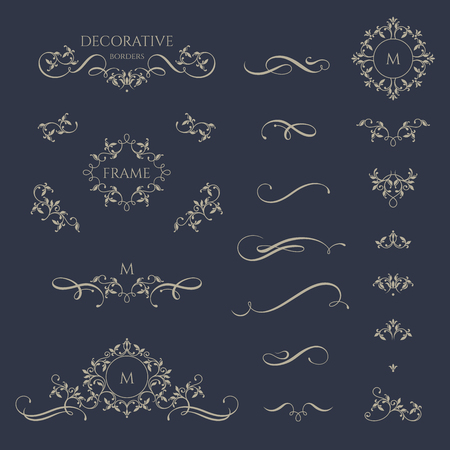 Floral borders and monogram with calligraphic elements. Graphic design page. Classic design elements for wedding invitations.