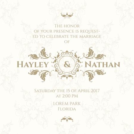Wedding invitation. Design classic cards. Decorative floral border.