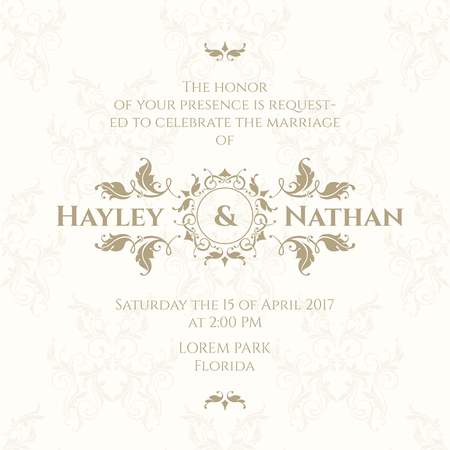 invitation wedding: Wedding invitation. Design classic cards. Decorative floral border.