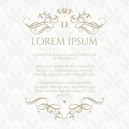 Floral monogram and border.Graphic design page. Classic pattern. Template for greeting cards, invitation.