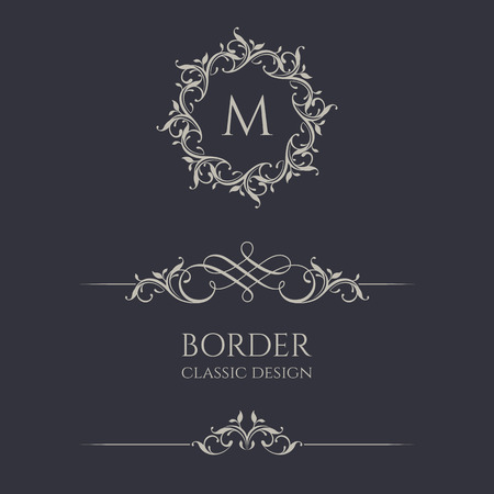 Floral monogram and border. Graphic design pages, business sign, boutiques, cafes, hotels. Classic design elements for wedding invitations.