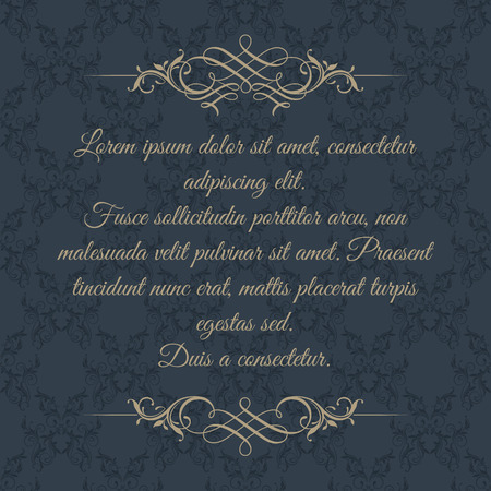 Calligraphic border on dark background. Classic pattern. Template for greeting cards, invitations, menus.
