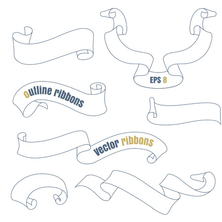 Outline ribbons set. Collection of graphic ribbons.