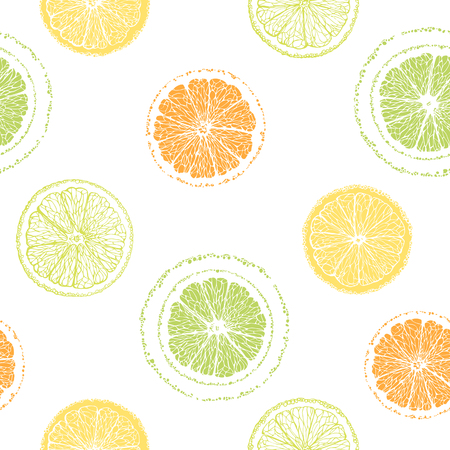 sliced fruit: Seamless pattern of sliced ??lemons, oranges, limes. Citrus pattern. Graphic fruit background. Hand-drawn citrus. Illustration