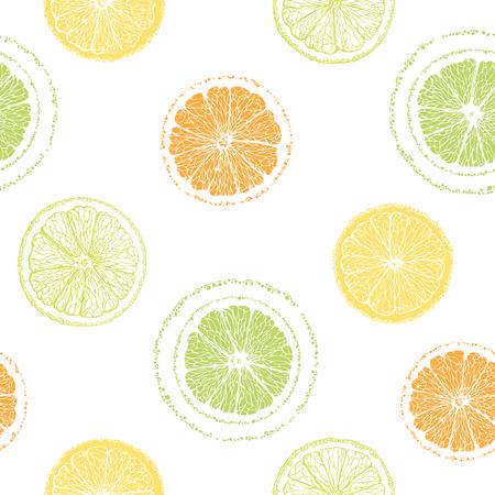 Seamless pattern of sliced ??lemons, oranges, limes. Citrus pattern. Graphic fruit background. Hand-drawn citrus. Illusztráció
