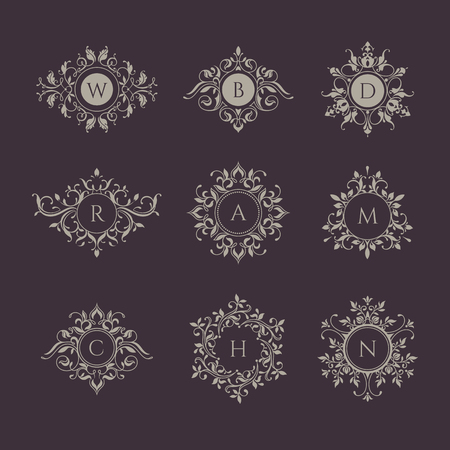 Monograms collection for cards, invitations, menus, labels. Graphic design pages, business sign, boutiques, cafes, hotels. Classic design elements for wedding invitations.