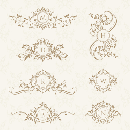 Monograms collection for cards, invitations. Graphic design pages, boutiques, cafes, hotels. Classic design elements for wedding invitations. Illusztráció