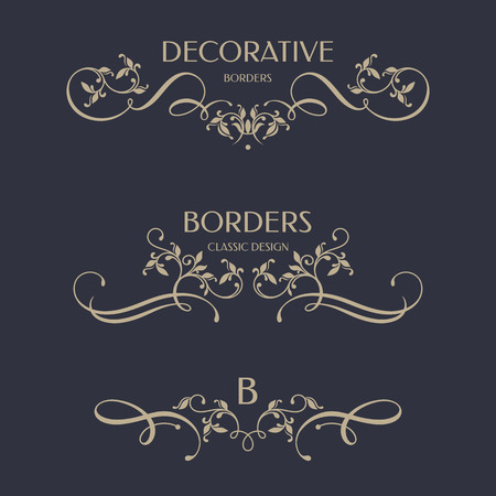 Floral borders with calligraphic elements. Template signage,  labels, stickers, cards.