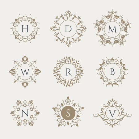 Vector monograms. Graphic design pages, boutiques, cafes, hotels. Classic design elements for wedding invitations.