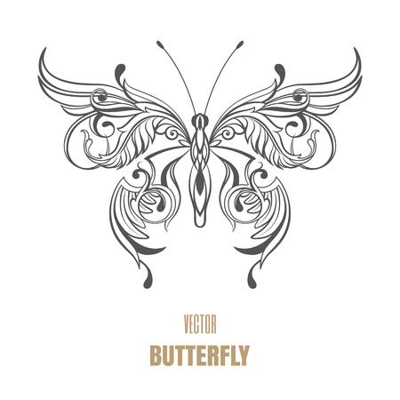 Outline vector butterfly. Decorative ornament wings. Illusztráció