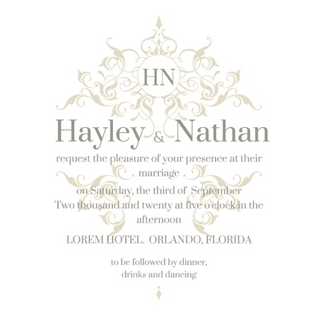 invitation cards: Wedding invitation. Graphic design page. Floral frame and monogram. Template for greeting cards, invitations, menus. Illustration