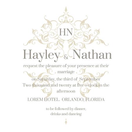 Wedding invitation. Graphic design page. Floral frame and monogram. Template for greeting cards, invitations, menus. Illusztráció