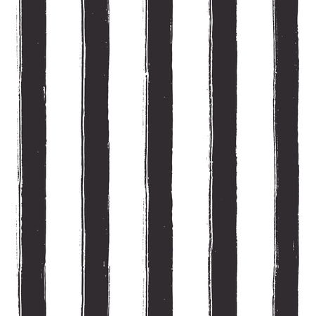 Seamless black stripes on white background. Vector texture. Wide lines with rough, artistic edges.