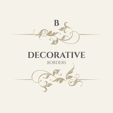 classical: Floral borders. Vector illustration. Decorative classical elements. Template signage, labels, stickers, cards.