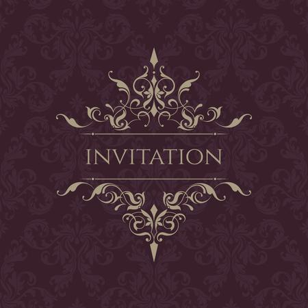 Wedding invitation. Classic border. Decorative frame. Template for greeting cards, invitations, menus. Graphic design page. Illusztráció