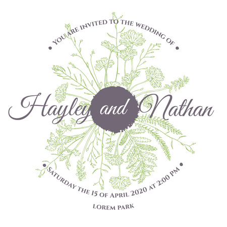 Card template with floristic composition of herbs. Wedding invitation. Herbs drawing on white background.