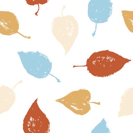 色のシームレスなパターン。手描きの葉。ベクトルのテクスチャです。