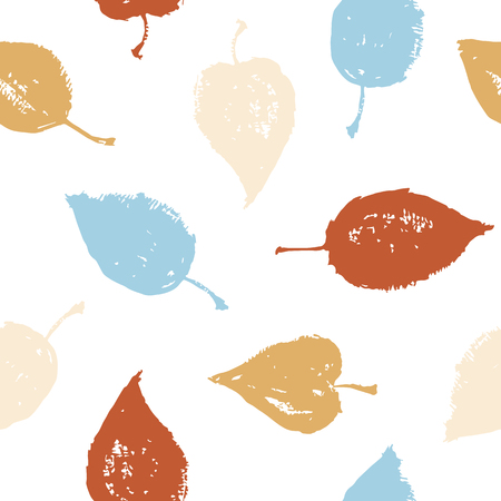 Colored seamless pattern. Hand drawing leaves. Vector texture.