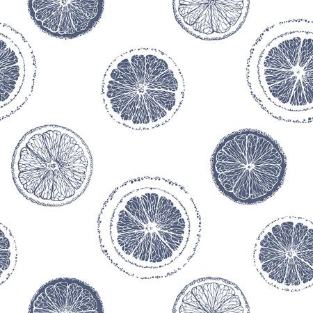 シームレスなパターンはスライスか?オレンジ。グラフィック果物背景。