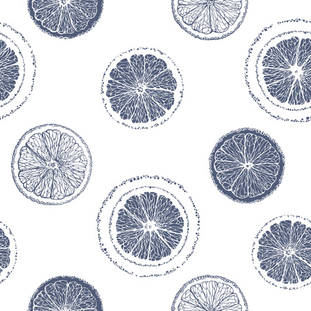 Seamless pattern of sliced ??oranges. Graphic fruit background.