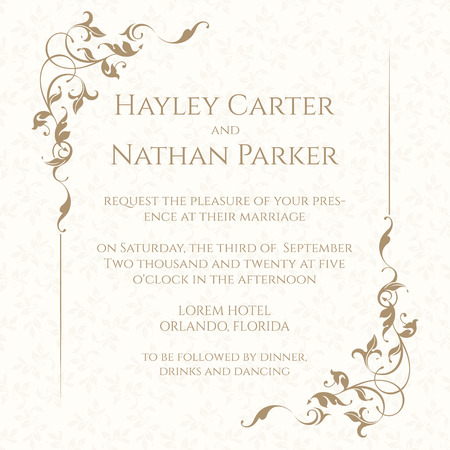 Invitation card with floral frame on seamless background. Classic design page. Wedding invitation, Save The Date, valentines day, birthday cards.