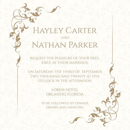 Tarjeta de invitación con el marco floral sobre un fondo transparente. La página de diseño clásico. invitación de la boda, ahorra la fecha, el día de san valentín, tarjetas de cumpleaños. Ilustración de vector