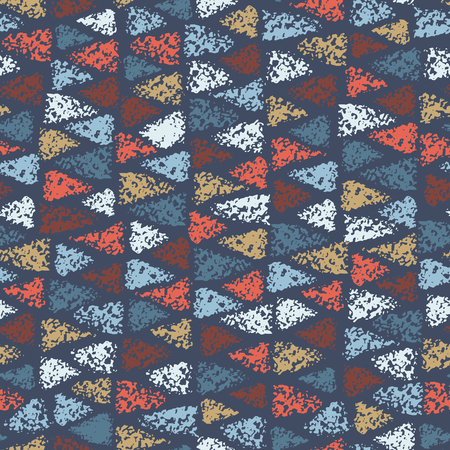 Seamless pattern of colored triangles. Vector texture. Background with painted chalk triangles.