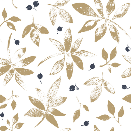 berry: Seamless pattern of leaves and berries. Illustration