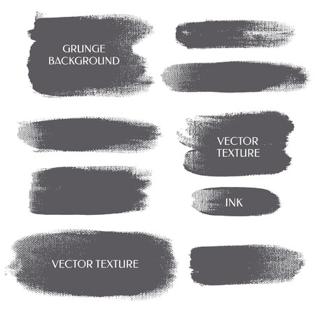Set of grunge background. Silhouette strip. Vector texture. Brush ink - rough, artistic edges.