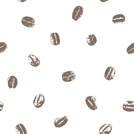 Seamless coffee beans white background.