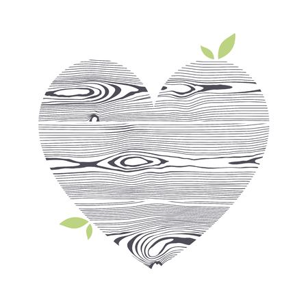 Wooden textured graphic heart. Stylized isolated symbol.