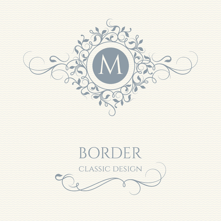 Floral monogram and border with calligraphic elements. Classic design elements for wedding invitations.