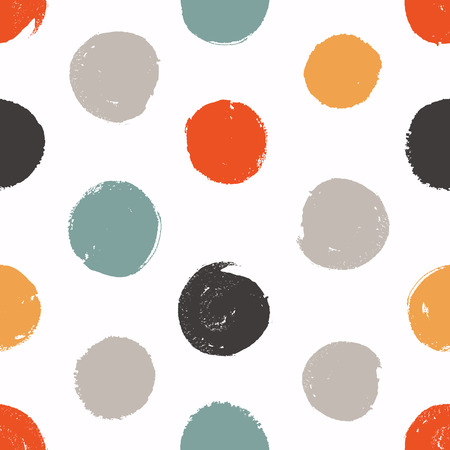 Seamless circles. Vector texture. Painted background with colored circles.
