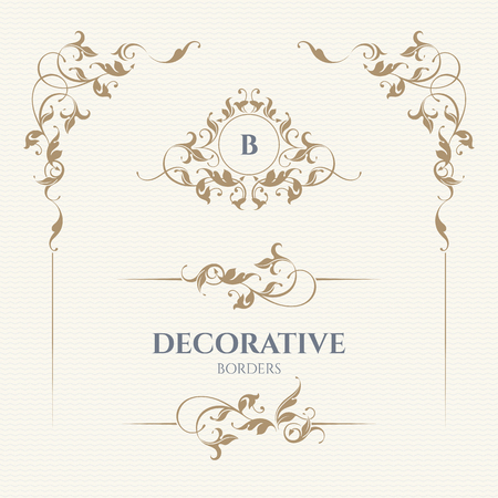 Decorative vector monogram and border for cards, invitations, menus, labels. Graphic design pages, business sign, boutiques, cafes, hotels. Classic design elements for wedding invitations. Vectores