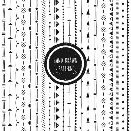 Black and white geometric pattern. Hand drawn seamless background. Round frame.