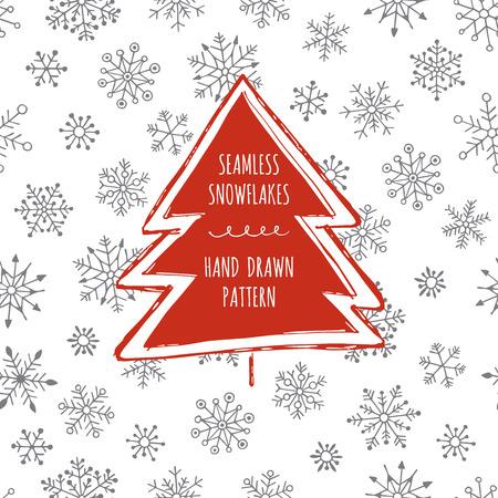 Seamless snowflakes. Hand drawn pattern. Christmas background. Christmas tree. Vettoriali