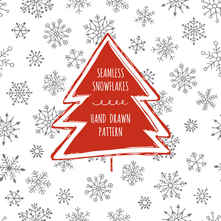 Seamless snowflakes. Hand drawn pattern. Christmas background. Christmas tree. Illustration