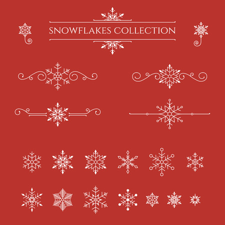 Set of snowflakes on red background. Winter decorative element. Vector illustration.