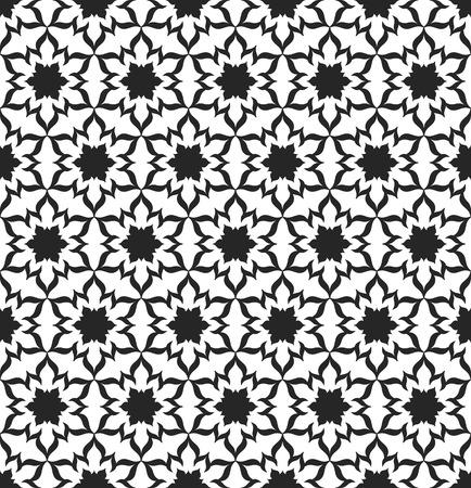 Black and White Seamless Pattern. Decorative Background. Vector Illustration. Vettoriali
