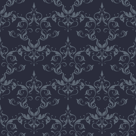 Damask floral seamless pattern. Classical ornament. Vector Illustration.