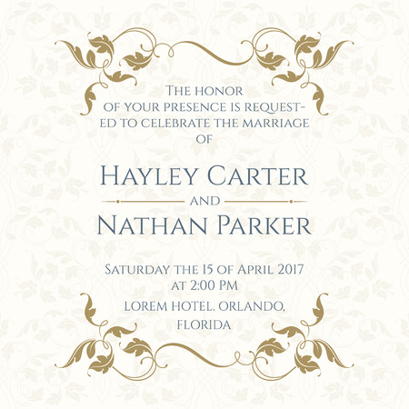 Invitation Card with Floral borders on Seamless Background. Wedding invitation, Save The Date, Valentines Day, Birthday Cards. Vector Template Cards. Vectores