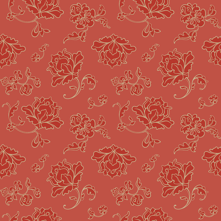Seamless pattern. Decorative Red Background. Vector illustration. Floral background for cards, invitations, packing, textiles.
