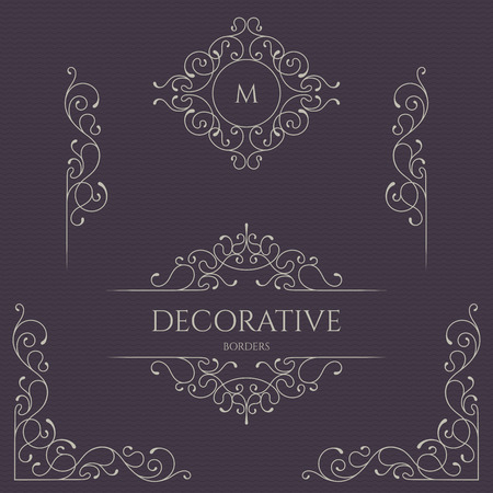 Monograms and borders, frames for cards, invitations, menus, labels.  Graphic design pages, business sign, boutiques, cafes, hotels. Classical elements.