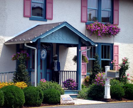 Entrance of Bed & Breakfast in historic district in Maryland.