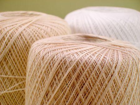ecru: Three Balls of Ecru and White Crochet Thread