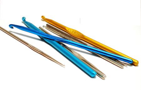 Collection of Crochet Hooks in Various Sizes. Stok Fotoğraf