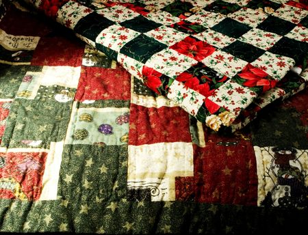 collectable: Close up of two holiday quilts. Stock Photo