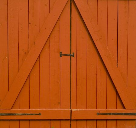 Close up of red barn doors Stock Photo - 533187